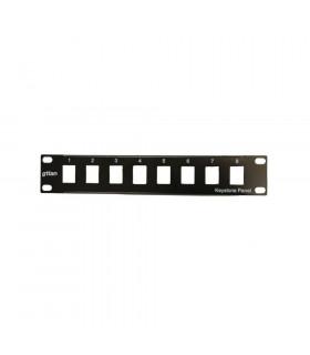 Panel minilan 10  vacío 8 rj45 keystone negro